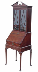 Antique small Georgian mahogany ladies bureau bookcase desk writing table