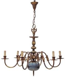 Antique Flemish 6 lamp brass bronze chandelier light fitting FREE DELIVERY