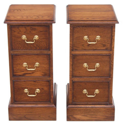 Antique quality pair of Victorian oak bedside tables cupboards reproduction