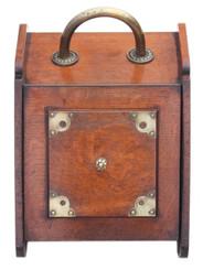 Antique quality Victorian oak and brass coal scuttle box perdonium