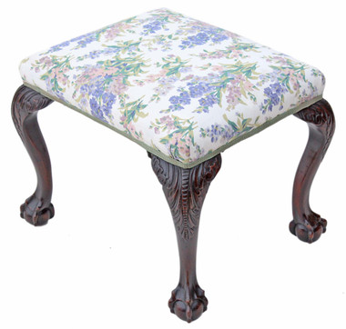 Antique Georgian revival carved mahogany upholstered stool chair foot