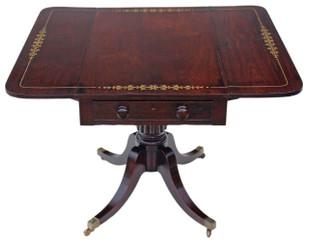 Antique Georgian Regency Brass Inlaid Rosewood Pedestal Pembroke Sofa Table