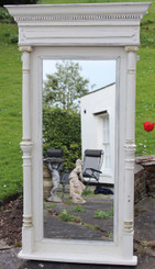 Large Late Victorian Painted French Overmantle Wall Mirror