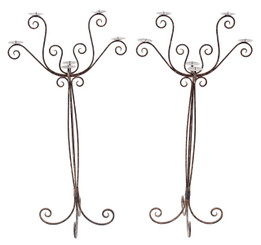 Antique pair of large Gothic wrought iron floor candlesticks candelabra