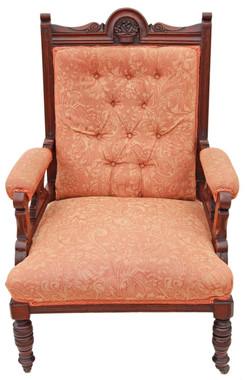 Antique Victorian Edwardian gents carved walnut chair armchair