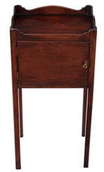 Antique Victorian mahogany tray top bedside cupboard table cabinet