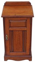 Antique Edwardian Victorian walnut bedside cupboard table cabinet