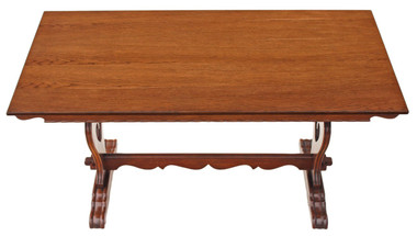 Antique oak Jacobean Gothic revival refectory dining table