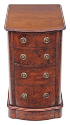 Antique Victorian burr walnut bedside cupboard table chest of drawers