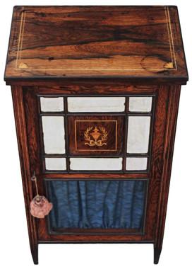 Antique Victorian 19C inlaid rosewood music display cabinet