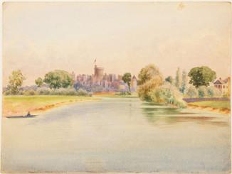 Antique 19th Century Victorian watercolour landscape painting Windsor Castle FREE DELIVERY