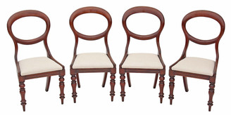 Antique set of 4 Victorian 19C mahogany dining chairs balloon back