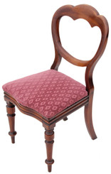 Antique Victorian walnut dining chair balloon back bedroom hall side