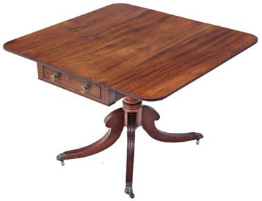 Antique Georgian Regency mahogany pedestal Pembroke sofa table