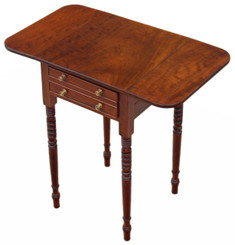 Antique quality Georgian 19C mahogany games work side sewing table box