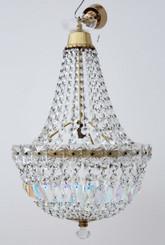 Antique large ormolu crystal basket chandelier FREE DELIVERY
