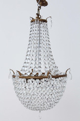 Antique large ormolu crystal basket chandelier early/mid 20C FREE DELIVERY