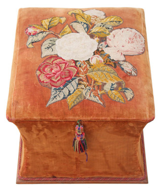 Antique Victorian 19C shaped upholstered needlepoint ottoman blanket box