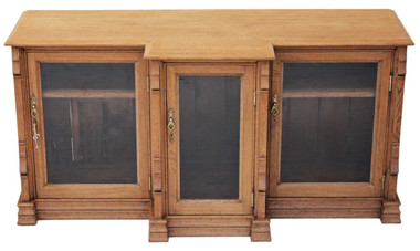 Antique large Victorian Gothic light oak glazed display cabinet bookcase