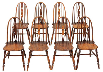 Antique set of 8 Windsor ash elm beech dining chairs revival