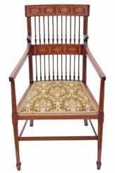 Antique Edwardian inlaid mahogany walnut armchair chair hall side dining
