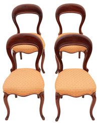 Antique set of 4 19C Victorian mahogany balloon back dining chairs