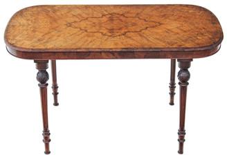 Antique Victorian burr walnut library desk writing table centre breakfast