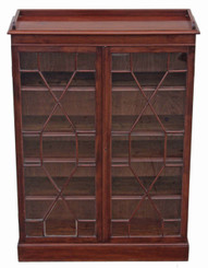Antique mahogany astral glazed bookcase display cabinet