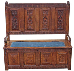 Antique Georgian carved Gothic oak settle hall seat bench sofa coffer