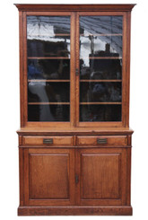 Antique large oak Victorian Arts and Crafts glazed bookcase display cabinet