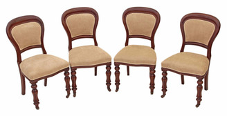Antique set of 4 19C Victorian mahogany dining chairs balloon back