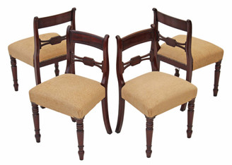 Antique set of 4 Regency 19C mahogany dining chairs bar back