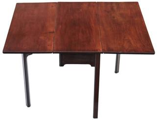 Antique Georgian Cuban mahogany dining table gate-leg drop leaf
