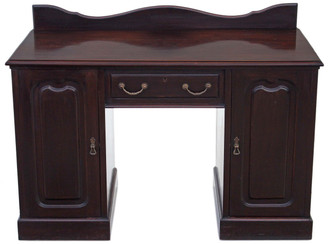 Antique late Victorian mahogany desk writing dressing table pedestal twin