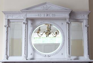 Antique large Robert Adam revival palladian wall mirror overmantle