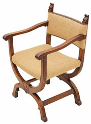 Antique carved oak x-frame desk chair office hall Gothic armchair elbow