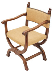 Antique carved oak x-frame desk chair office hall armchair Gothic elbow