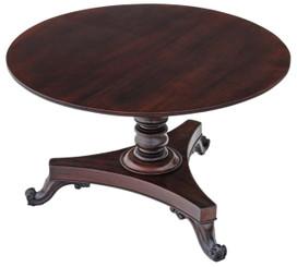 Antique Victorian 19C mahogany loo breakfast centre table tilt top
