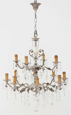 Antique 12 lamp silver on brass crystal chandelier