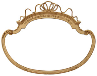 Antique early 20th Century ribbon top shaped wall mirror overmantle