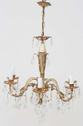 Antique French 6 lamp ormolu brass crystal chandelier FREE DELIVERY
