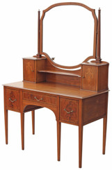 Antique large Edwardian quality inlaid mahogany dressing table
