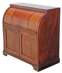 Antique quality Victorian flame mahogany cylinder bureau desk writing table