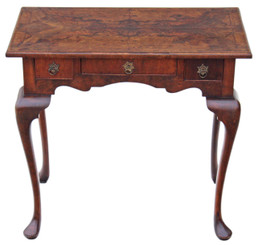 Antique Georgian 19C burr walnut lowboy table side occasional desk writing