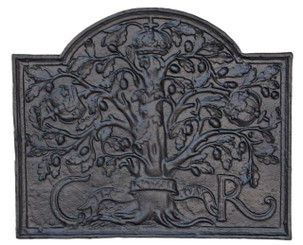 Antique large cast iron fire back