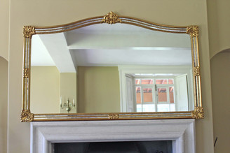 Antique very large gilt overmantle wall mirror 6' foot
