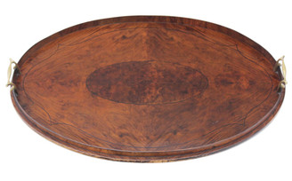 Antique quality Edwardian inlaid burr figured walnut oval serving tray tea