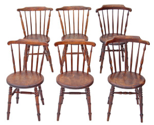 Antique mixed set of 6 penny Windsor elm beech kitchen dining chairs oak ash
