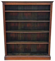 Antique large Victorian oak bookcase adjustable shelves