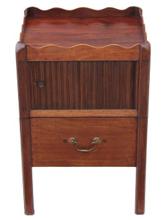 Antique Georgian mahogany bedside cupboard table cabinet commode